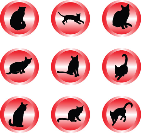 persian cat: cat collection in buttons - vector