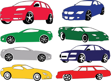 car collection in different color - vector Stock Vector - 5420563