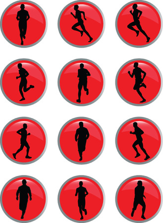 running people in button - vector Stock Vector - 5420561