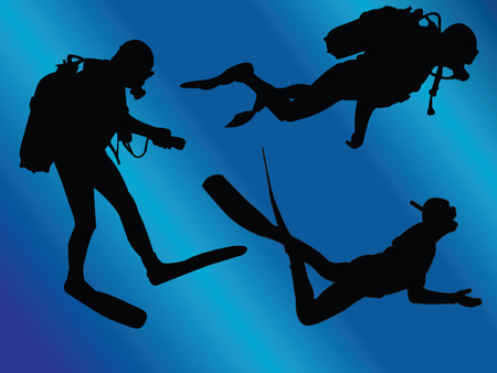 scuba divers with background - vector Vector