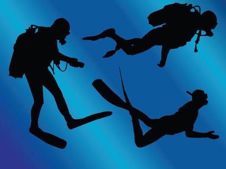 profundidad: submarinistas con fondo - vector