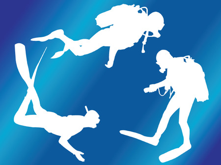 scuba divers with background 2 - vector Vector