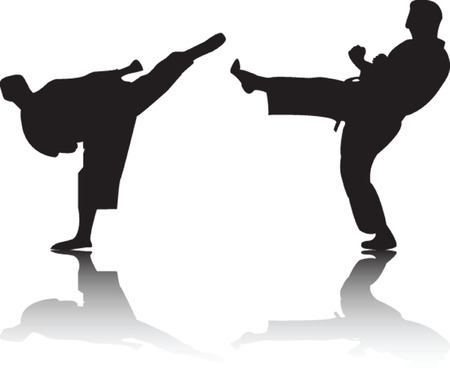 karate fighters - vector Stock Vector - 5656113