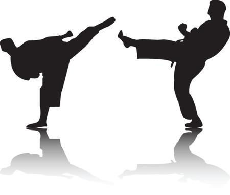 karate fighters - vector Illustration