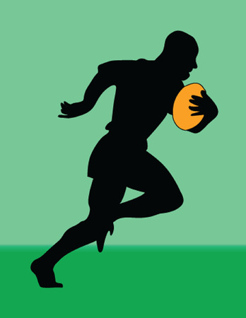 runing:  rugby player silhouette