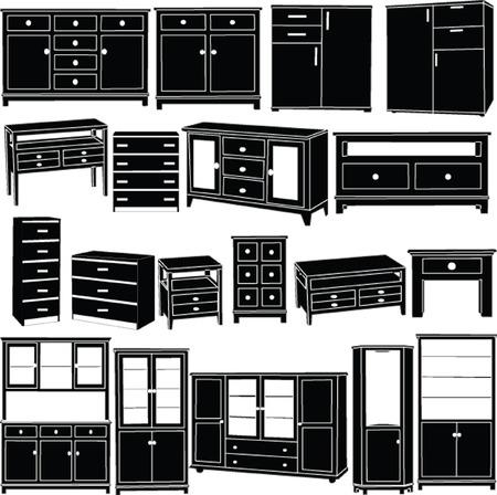 ladenkast: grote dressoirs collectie - vector