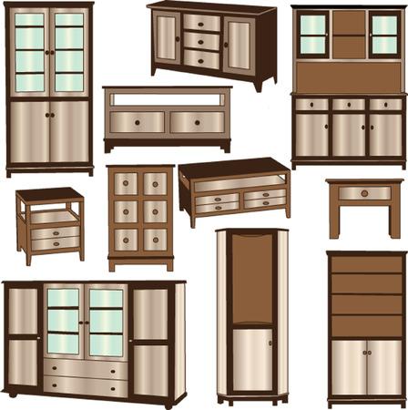dressoirs - vector Vector Illustratie