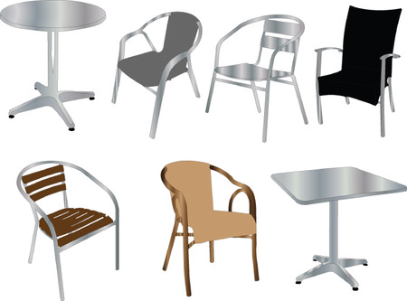 dining tables: tables and chairs illustration