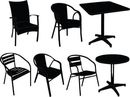 chairs and tables illustration  Vector