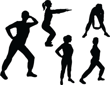 girls exercising silhouettes Vector
