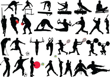 levantamiento de pesas: colecci�n de diferentes deportes - vector