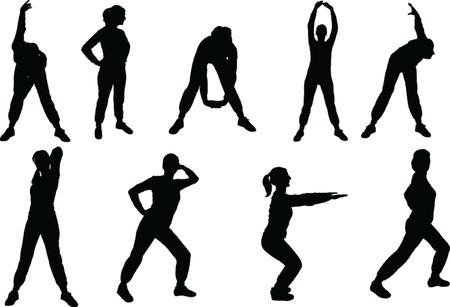 muscle training: vector de ejercicios aer�bicos chica 2-