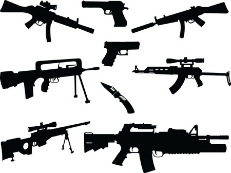 Different Weapons Collection Silhouette - vector Vector