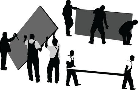 cantieri edili: lavoratori 4 - vector