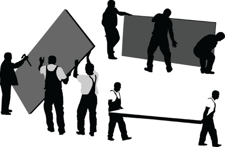 building site: workers 4 - vector Illustration