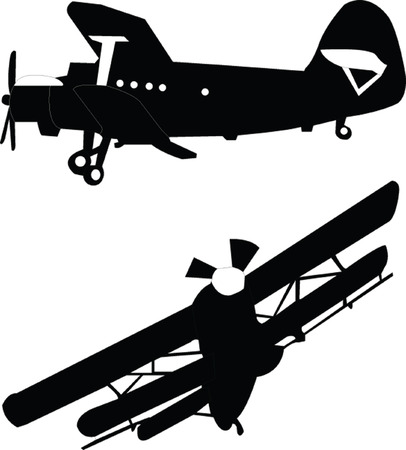 biplane: airplane - vector Illustration