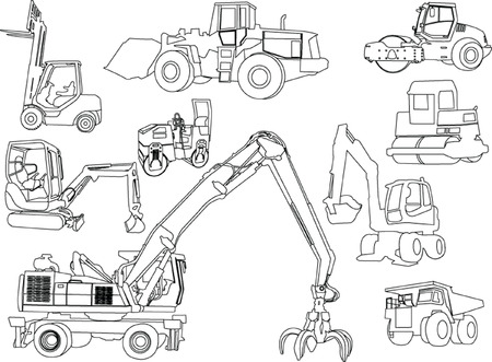 roller compactor: construction machines - vector Illustration
