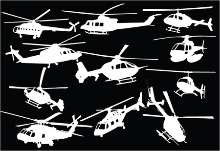 helicopters collection 3 - vector Illustration