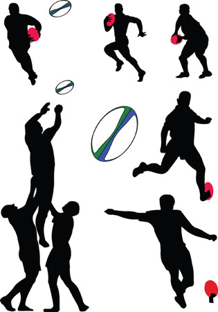 struggling: rugby collection - vector Illustration