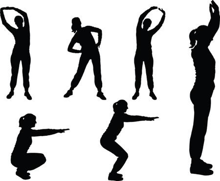 estiramientos: chica de ejercicios aer�bicos 3 - vectoriales Vectores