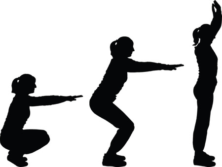 girls exercising - vector Stock Vector - 8243167