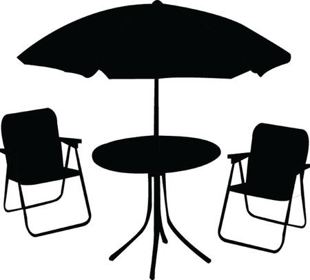 Adirondack Chair And Market Umbrella At Beach, Chair And Umbrella ...