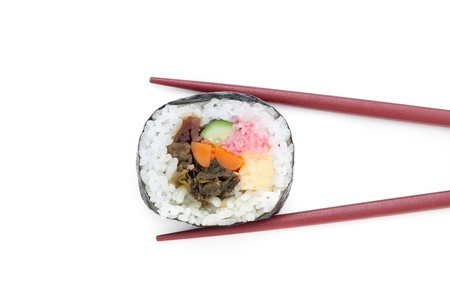Japanese Sushi rolls with red chopsticks isolated on white background  Stock Photo - 12451167