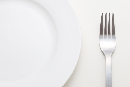 Fork and dish isolated on white background  photo