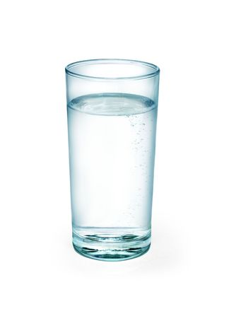 welling:  Water in a glass on white background