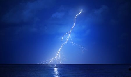 thunder storm: Lightning and the sea