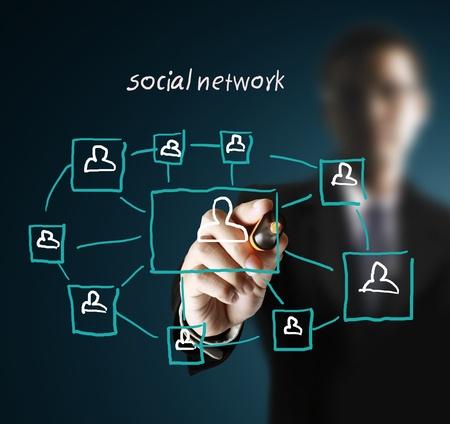 trabajo social: estructura de la red social de dibujo en una pizarra  Foto de archivo