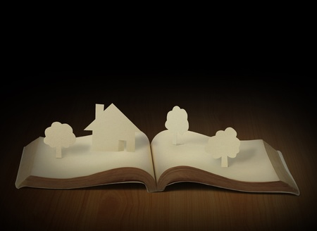 yellow house: Open book  Stock Photo