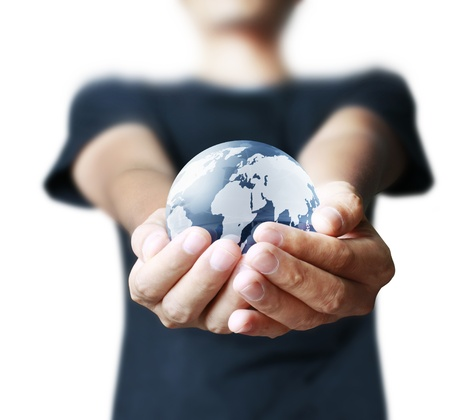 save the sea: earth globe in his hands