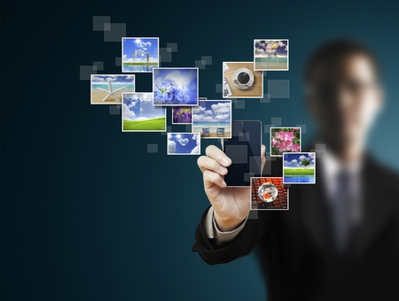 send sms: Touch screen mobile phone  Stock Photo
