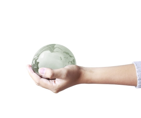 holding a glowing earth globe in his hands Stock Photo - 9724723