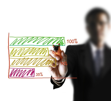 Male hand drawing graph Stock Photo - 9725386