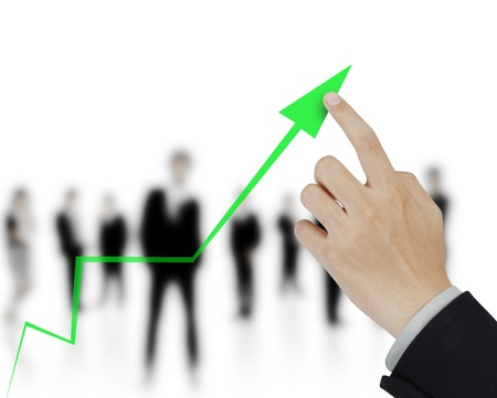 secure growth: Hand showing graph
