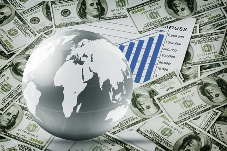 Bank Światowy: Globe pieniÄ…dze i busines Zdjęcie Seryjne