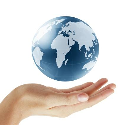 paz mundial: planeta tierra en sus manos  Foto de archivo