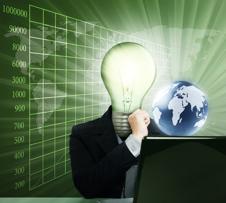 businessman with lamp-head with laptop Stock Photo - 9726010