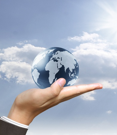earth globe in his hands Stock Photo - 9725986