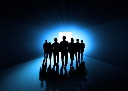 Shadows of people walking  photo