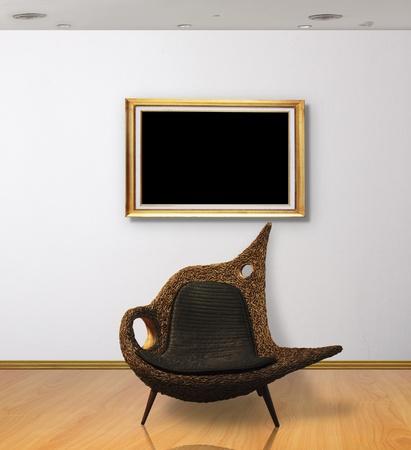 Frame in white room Stock Photo - 9814844