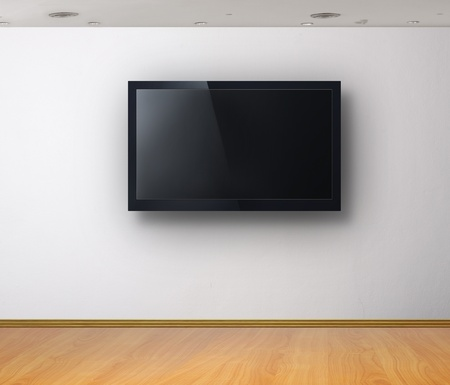 interior office: 3d TV in the white room  Stock Photo