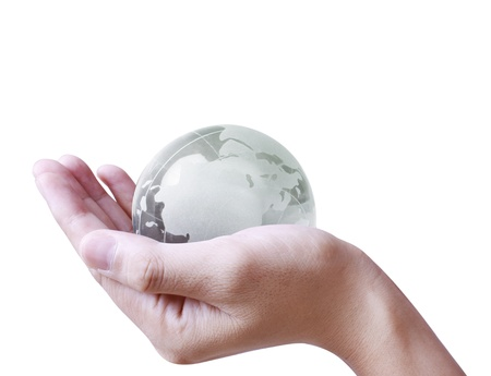 holding a glowing earth globe in his hands  Stock Photo - 9859813