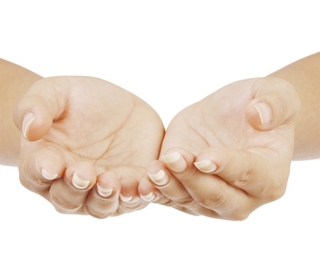open hand: hand on white background