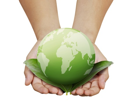 hands with the earth Stock Photo - 9859380