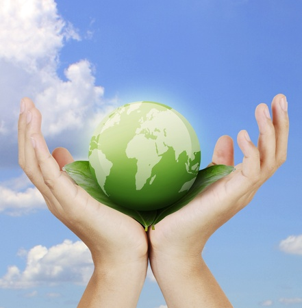 hands with the earth  Stock Photo - 9859336