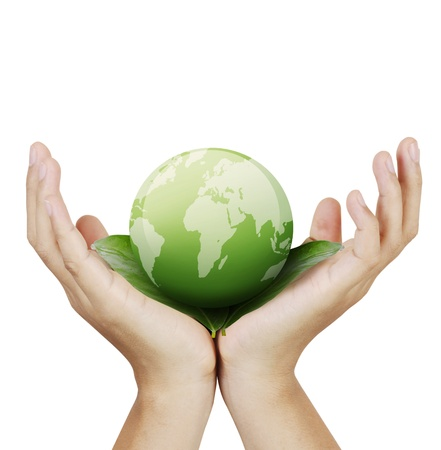 hands with the earth Stock Photo - 9859387