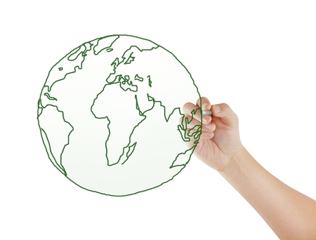 drawing the world map in a whiteboard Stock Photo - 9927774